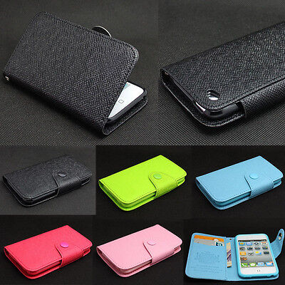 Deluxe Button Wallet Leather Flip + Tpu Skin Case Cover For iPod Touch 4 4TH Gen