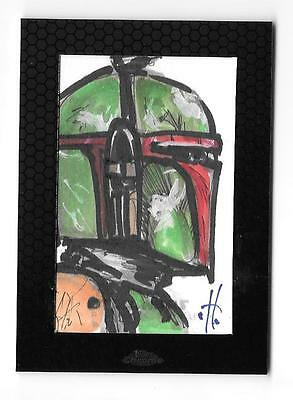 2014 Star Wars Chrome Perspectives Sketch Boba Fett Otto Dieffenbach