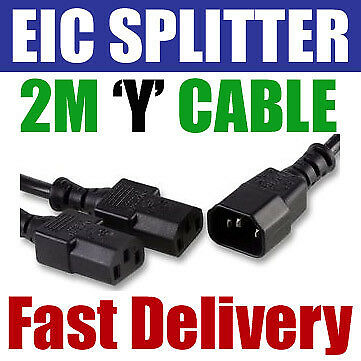 2M Metre IEC Splitter Cable Lead Wire 1 x Male C14 to 2 x Female C13 Kettle PC