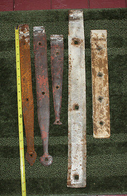 Vintage Primitive LOT of 5 Heavy Iron Barn Door Strap Hinges – Up to 22½""