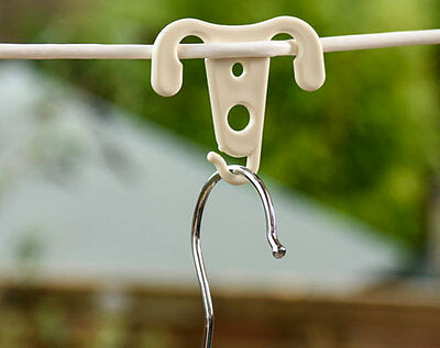 WASHING LINE CLOTHES HANGER LAUNDRY HOOKS PEGS PACKS OF 3,6,9,12,24 or 48 HOOKS