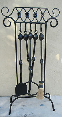 Vintage Antique Wrought Iron Ornately Hand Forged 5 Pc. Firplace Tool Stand Set