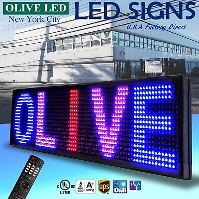 "OLIVE LED Sign 3Color RBP 15""x40"" IR Programmable Scroll. Message Display EMC"