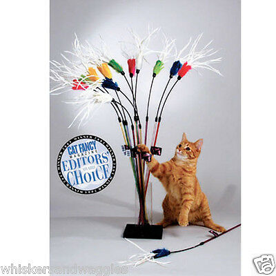 """Vee Single 18"""" long Purrfect Feather Bouncer Cat Teaser Wand Made in USA"""