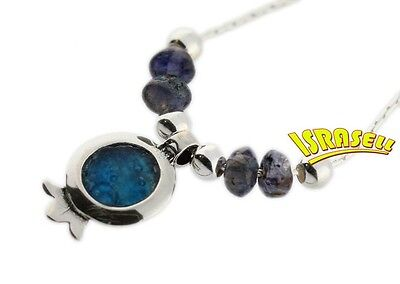 ANCIENT ROMAN GLASS & 925 STERLING SILVER POMEGRANATE NECKLACE - Anyolite