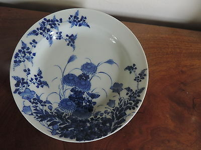 Antique Chinese Blue & White Porcelain Plate with Kangxi Marks 19th century