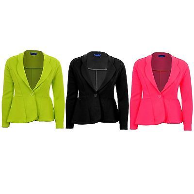 Women's One Button Luminous Frill Shift Textured Party Jacket Ladies Blazer