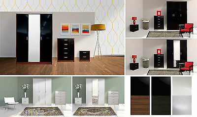 Trio High Gloss 3 Door Wardrobe Chest Bedside +Opt Dressing Table