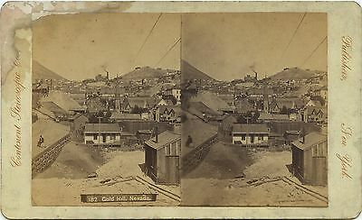 Nevada, Continent Stereoscopic Co. stereoview 1860's Town View of Gold Hill, NV