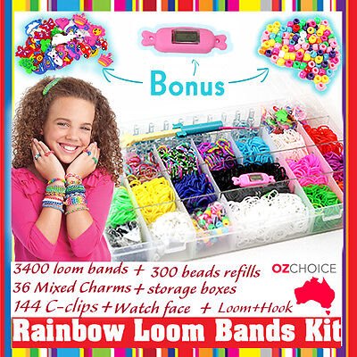 New 600+ Rainbow Loom Bands Kit Charms Bracelet Set Storage Case Box Organiser
