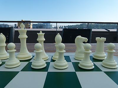 QUADRUPLE WEIGHT CHESS SET Green Board IVORY PIECES Tournament BRAND NEW GAME