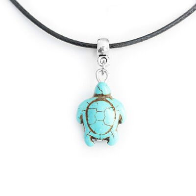Turquoise Turtle Charm Pendant Choker Necklace with Black Cord