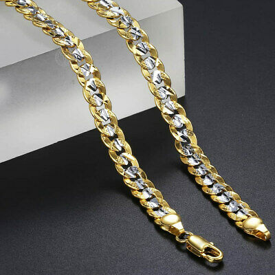 6mm Women MENS Chain Curb Cuban Link Yellow Gold Filled GF Necklace Bracelet HOT