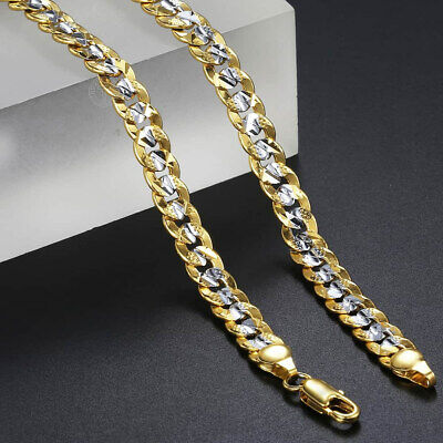 "Silver&Gold Color Gold Filled Curb Link Chain Necklaces Men Women 6mm 20""-24"""