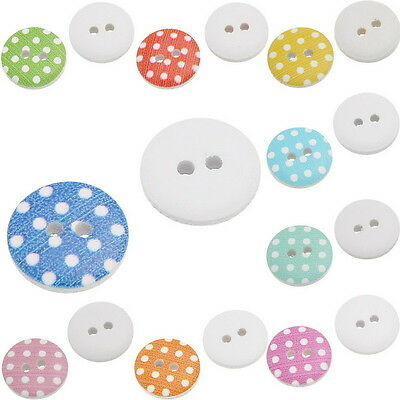 90PCs Mixed Wood Sewing Scrapbooking Buttons Dot 2 Holes Round Craft 15mm