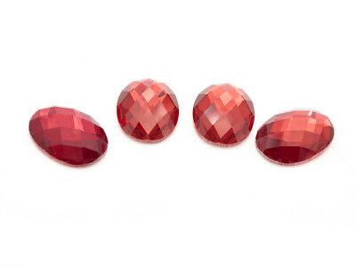 4 Glasschliff Cabochons in lachs, 18 x 13 mm