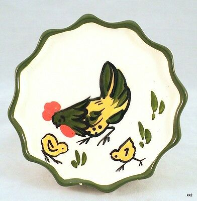 Vintage Rooster Chicken & Chicks Wall Pocket Handpainted California -Estate Find
