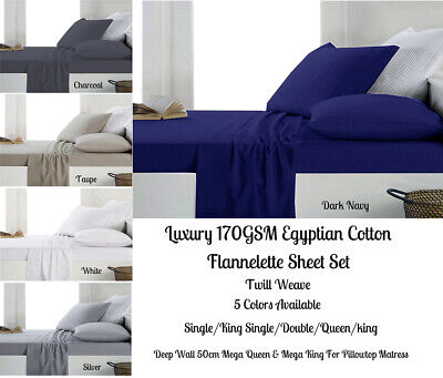 170GSM Luxury Egyptian Cotton Flannel / Flannelette Sheet Set All Bed Sizes