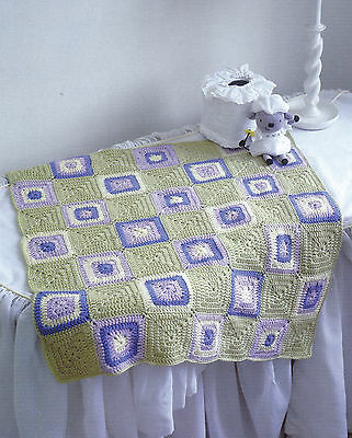 Crochet Granny Square Baby Afghan Pattern : Crochet Pattern ~ FLOWER GRANNY SQUARE THROW ~ Retro ...
