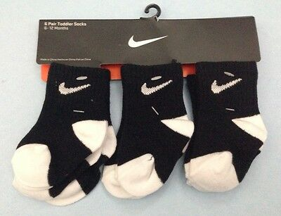 AIR NIKE Toddler 6-Pairs GIFT Pack Socks BLACK/White color. 6-12 & 12-24 Months!
