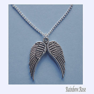 Neckace on chain #274 Pewter Angel Wings  (20mm x 17mm)