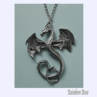 Chain Necklace #327 Pewter Dragon (45mm x 37mm)