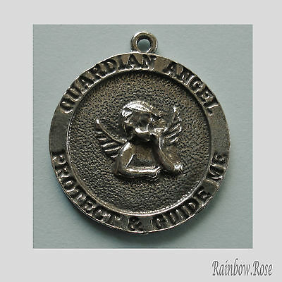 PEWTER CHARM #102 Guardian Angel Medallion 25mm Antique Silver