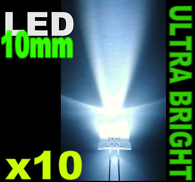 510/10# LED 10mm blanc 40000mcd  -  10pcs