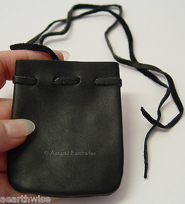 BLACK LEATHER POUCH  Wicca Pagan Witch Goth HERBS SPELLS RITUAL