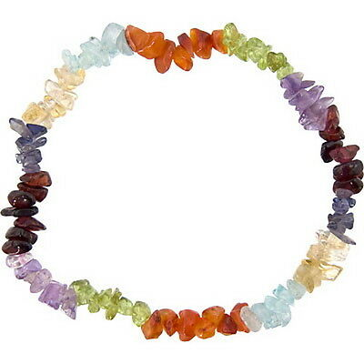 7 CHAKRAS GEMSTONE CHIPS ELASTIC BRACELET - Wicca Pagan Witch