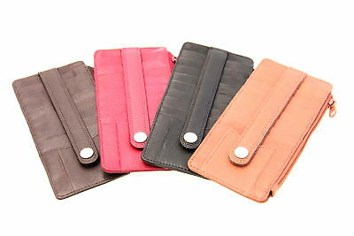 Credit Card Holder Case Men Women Security Snap ID Slot Genuine Leather New Wide