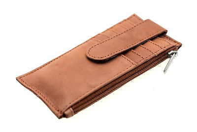 Credit Card Holder Case Men Women Security Snap ID Slot Slim Genuine Leather New