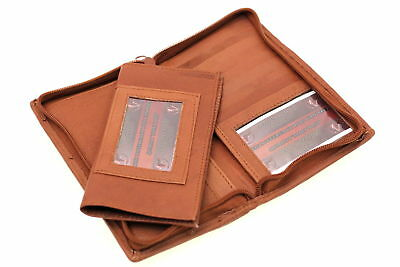 Leather Checkbook Wallet Removable Checkbook Cover Zip Around Men Women New