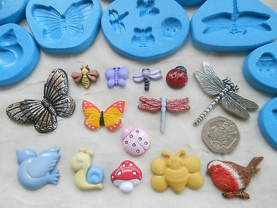 1x Sugarcraft/Fimo MOULD: Garden Insect BUGS Themed