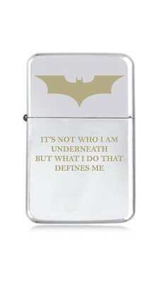 ★STAR★ engraved LIGHTER silver black pink gold BAT MAN LOGO underneath QUOTE