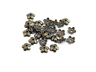 40 Perlenkappen in antik Bronze, 6 mm