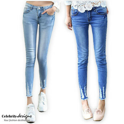 Super Low-rise Skinny Ankle Cropped Ripped Ladies Jeans 14 12 10 8 IN HAND -jn35