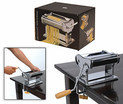 Chrome Lasagne Pasta Machine  Cutter with 6 Settings Cutting Roller and Trimmer