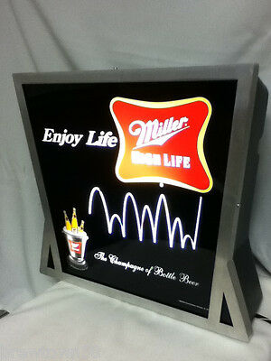 BC8 MILLER BEER SIGN 2003 BAR WALL LIGHTED MOTION BOUNCING BALL BOUNCE LIGHT