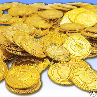 "144 Plastic Party Prop 1.25"" Gold Pirate Treasure Coins"