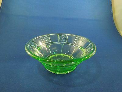 Antique Depression Era Jeanette Vaseline Glass Doric Pattern Berry Bowl