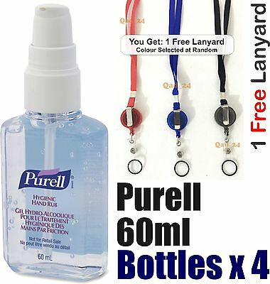 4 x bottles Purell Hand Sanitiser Rub Gel 60ml Travel Pump Bag Pocket Size NHS *