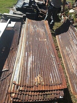 Vintage 10' Corrugated Roof Panel Tin Old Rusty Metal Restaurant Decor 3302-14