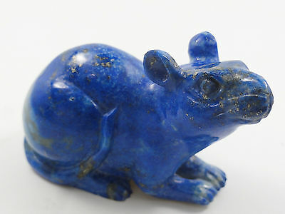 Antique Chinese Hand Carved Lapis Lazuli Sculpture Of Mouse