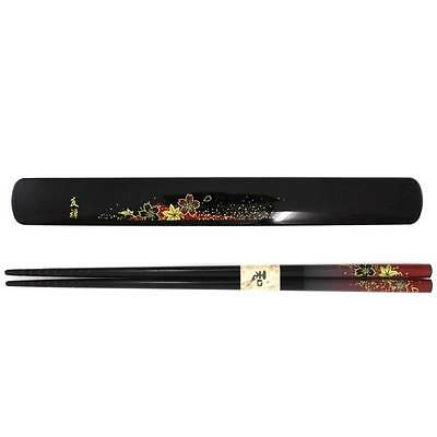 Black/Red Japanese Travel Chopsticks with Case Yuzen #0016 S-3687