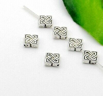 80/400Pcs Tibetan Silver Square Spacer Beads For Jewelry Making 3x7mm Free