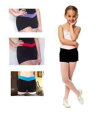 Girls Dance Gymnastic Shorts with Crossover V-band