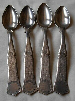 SET OF 4  ANTIQUE TURKISH OTTOMAN STERLING  SILVER TEA  SPOONS --134  grams