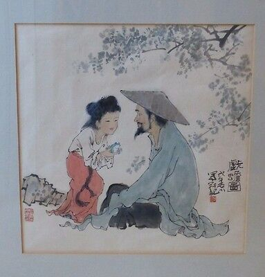 Antique Chinese Artist's Sign & Red Seals Framed Watercolor Painting