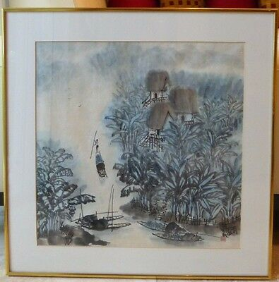 Antique Chinese Artist's Sign & Red Seal Framed Watercolor Painting